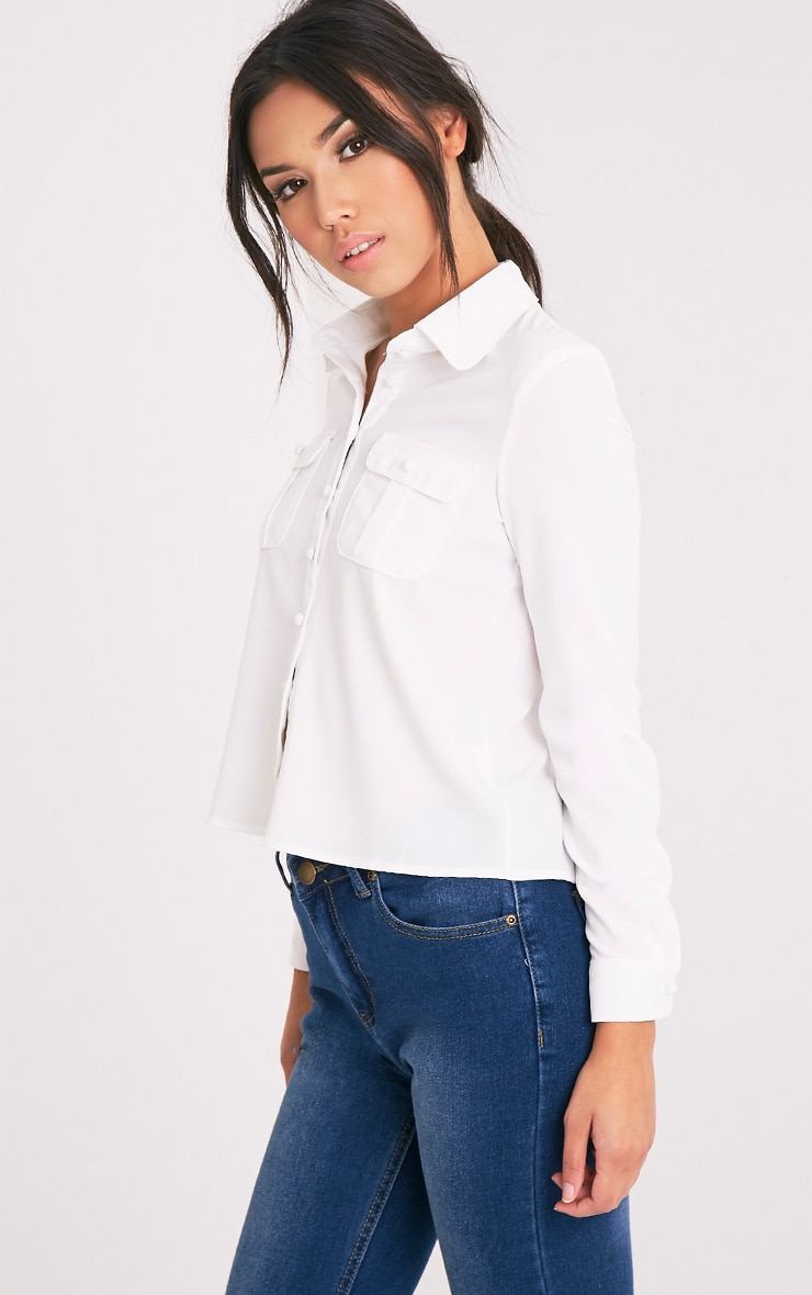 Loulou Cream Crop Long Sleeve Shirt 4