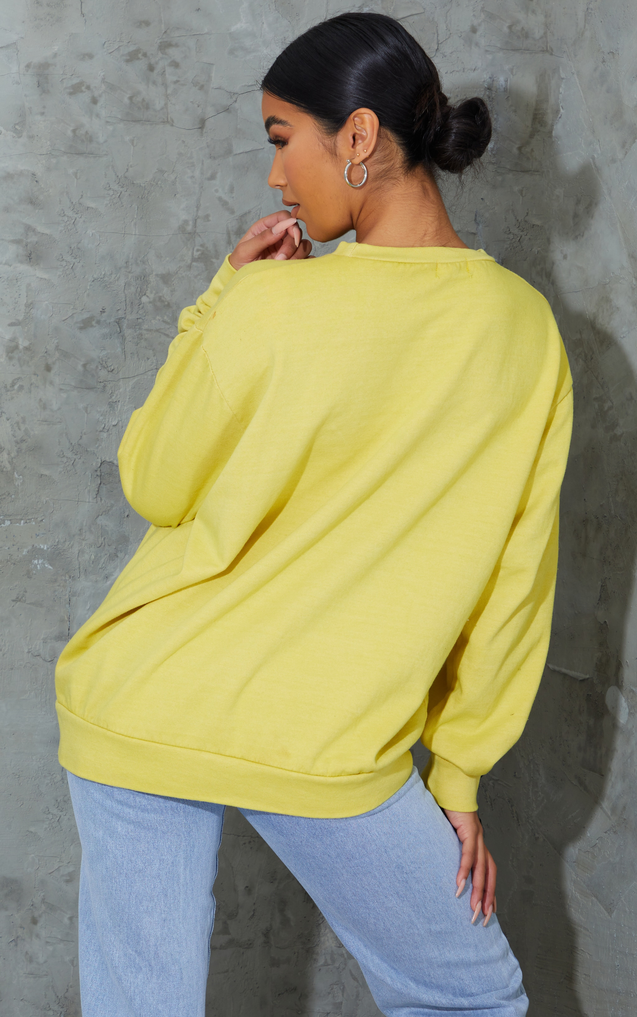 Yellow Prosperity Slogan Printed Washed Sweatshirt 2