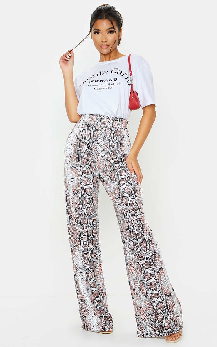 White Snake Belted Wide Leg Trousers 1