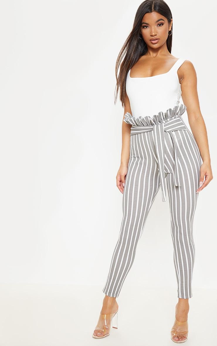 Grey Pinstripe Paperbag Skinny Pants  1