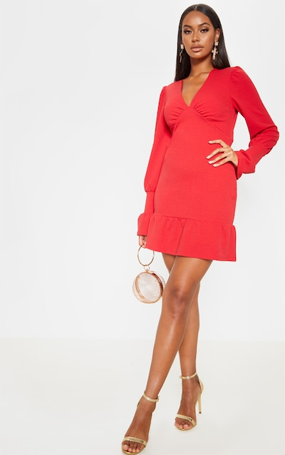 Scarlet Plunge Long Sleeve Frill Hem Bodycon Dress