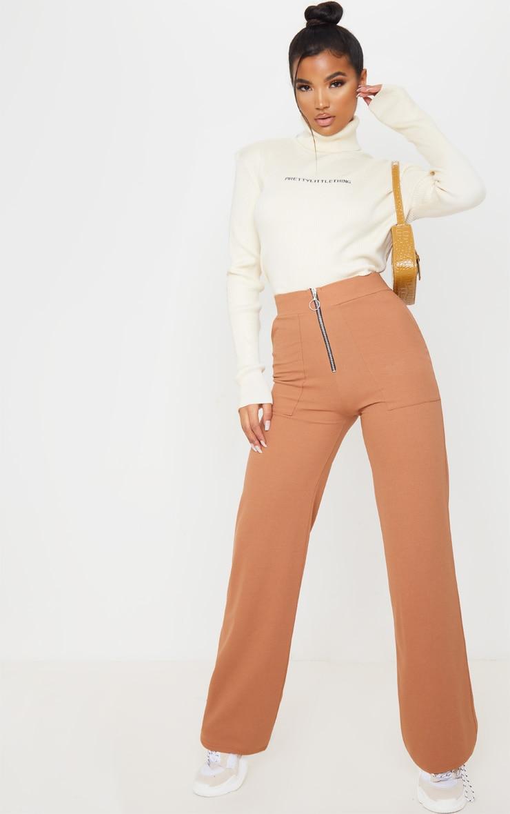 Camel Zip Detail Wide Leg Trousers by Prettylittlething