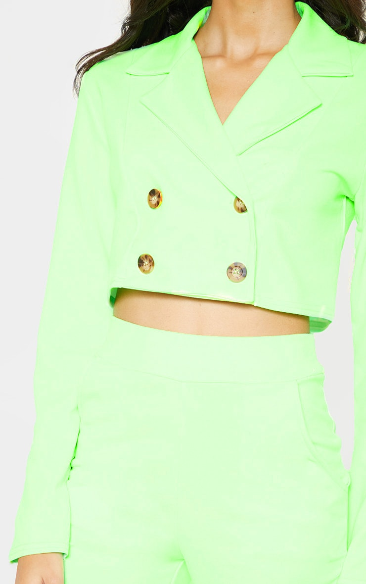 Neon Green Cropped Suit Blazer  5