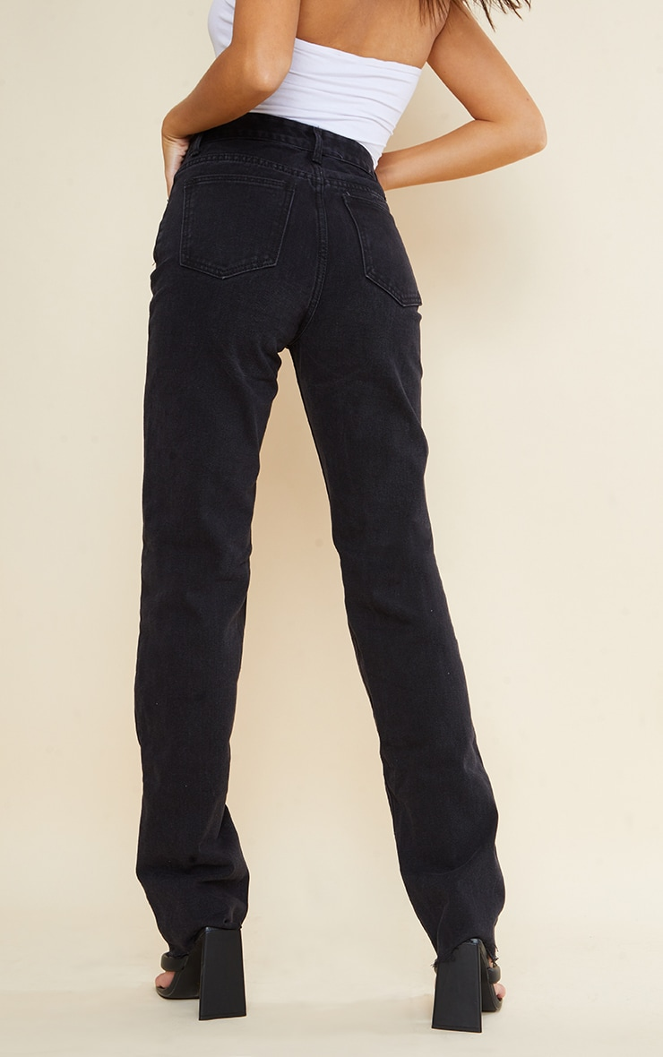 PRETTYLITTLETHING Tall Washed Black Long Leg Straight Jeans 3