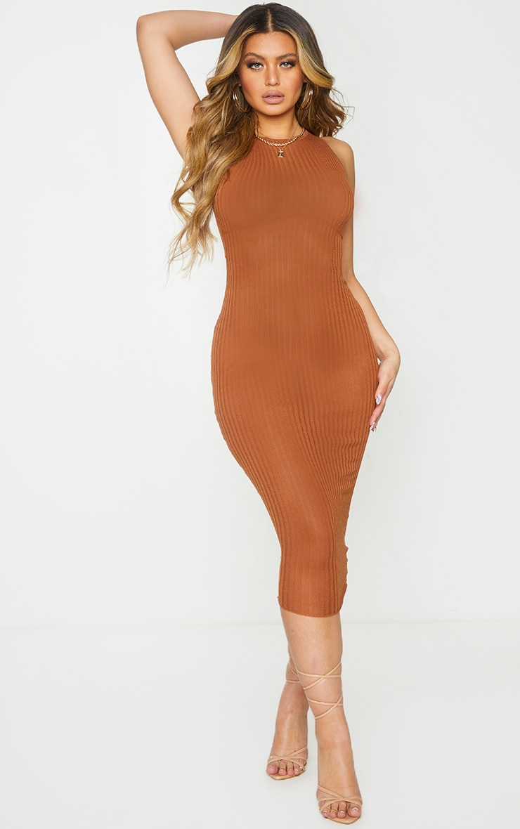Rust Sheer Knit Underbust Detail Midi Dress 1