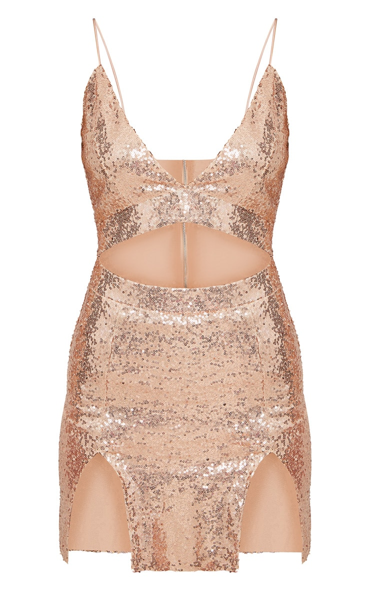 Rose Gold Strappy Plunge Extreme Split Sequin Bodycon Dress 3
