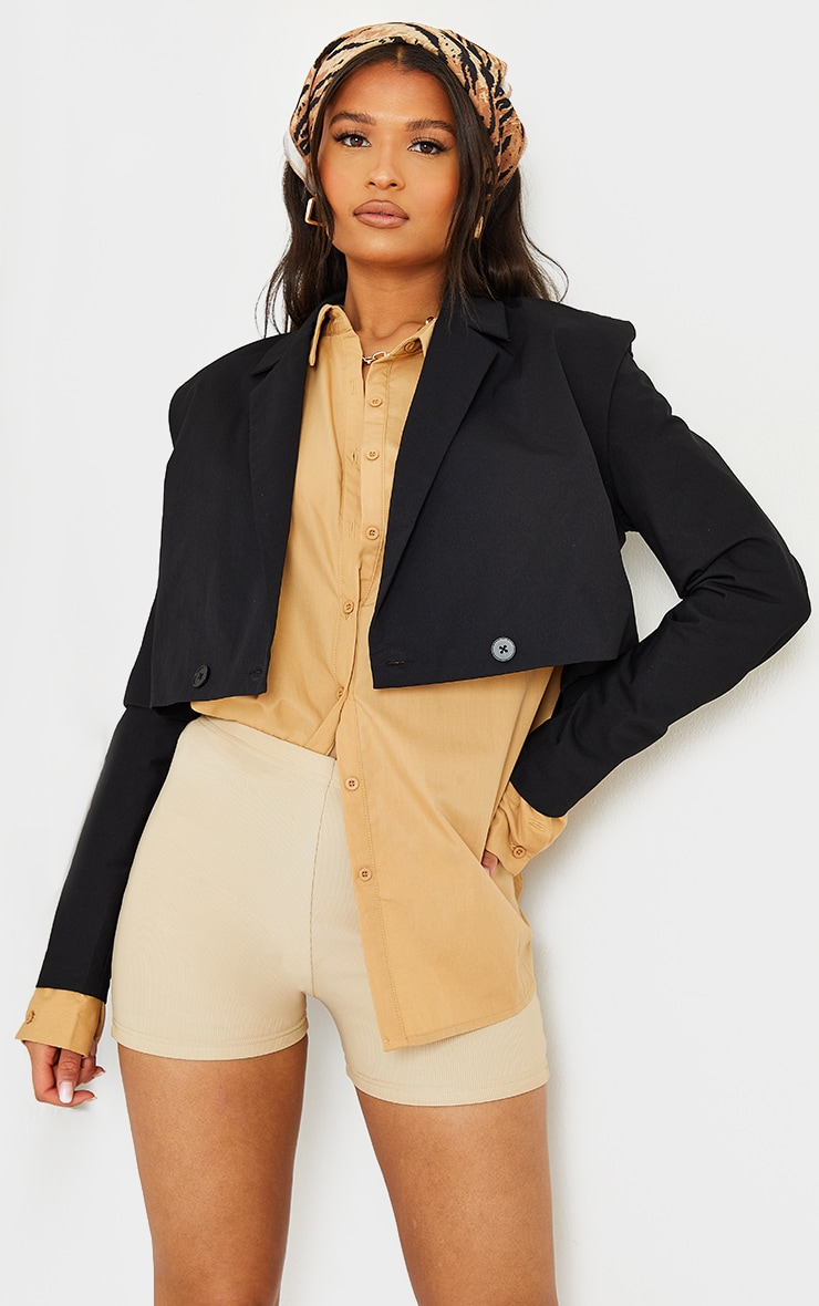 Black Woven Shoulder Detail Extreme Padded Double Button Blazer 1