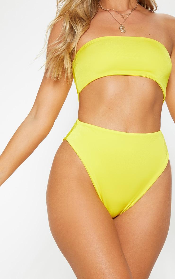Yellow Mix & Match High Waisted High Leg Bikini Bottom 1