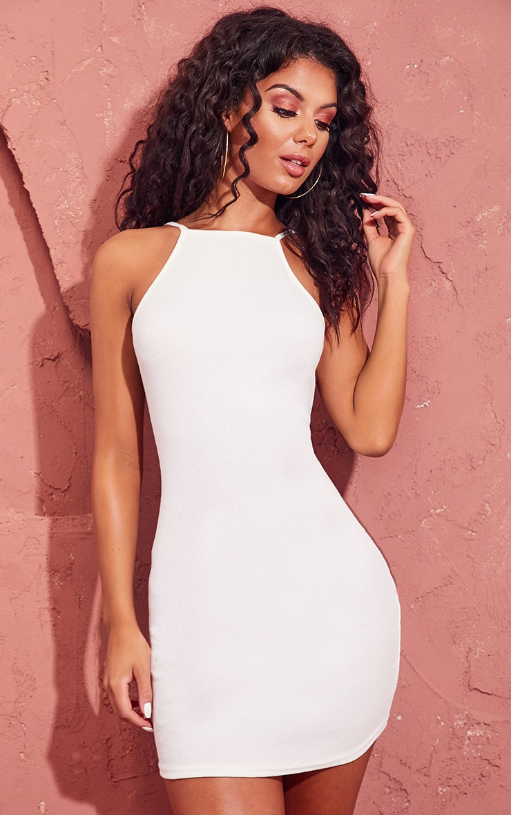 Cream Ribbed 90s Neck Bodycon Dress 1