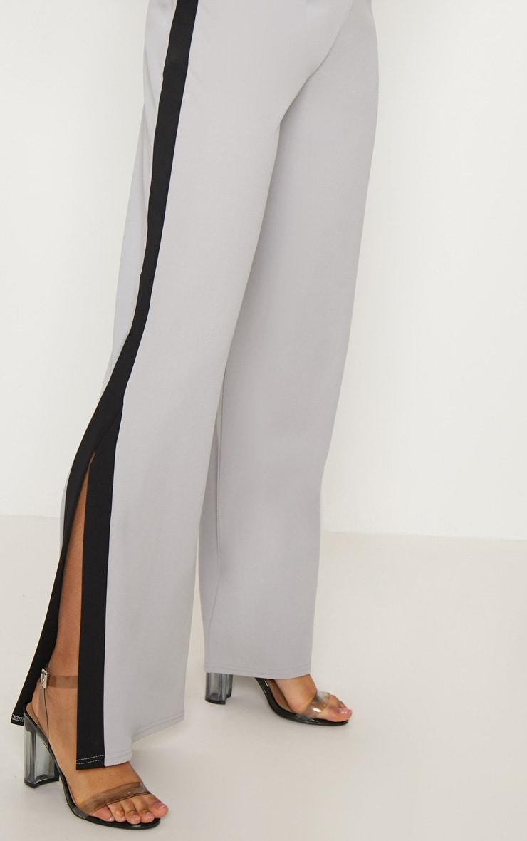 Grey Contrast Side Panel Split Hem Wide Leg Trouser 5
