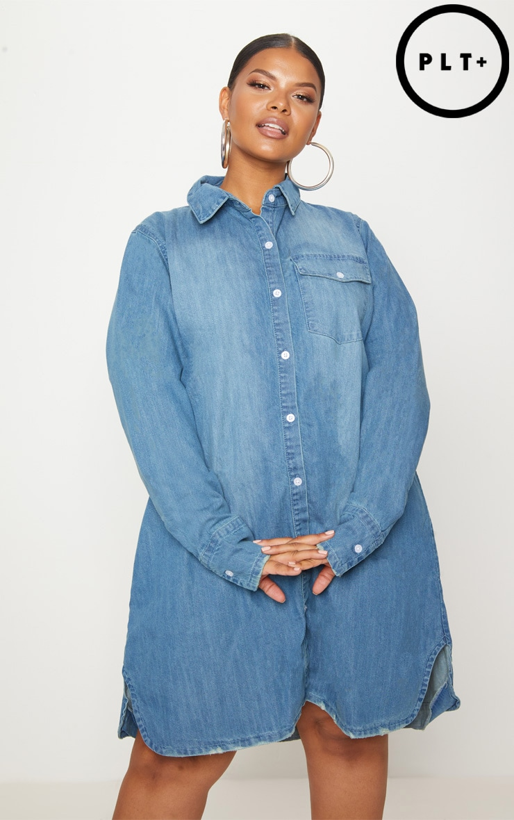 Plus Blue Oversized Denim Shirt Dress 1