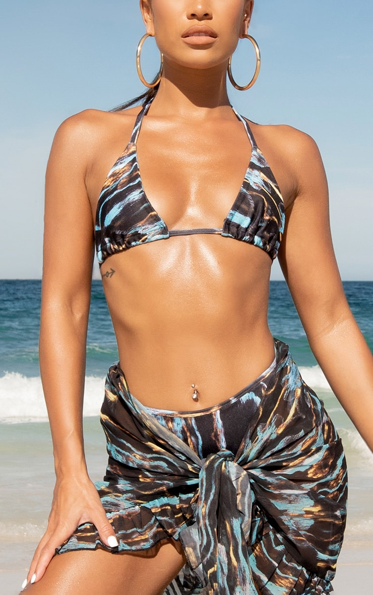Multi Stripe Print Triangle Bikini Top 4