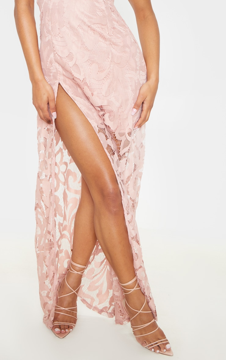 Nude Lace Cap Sleeve Extreme Split Maxi Dress 5