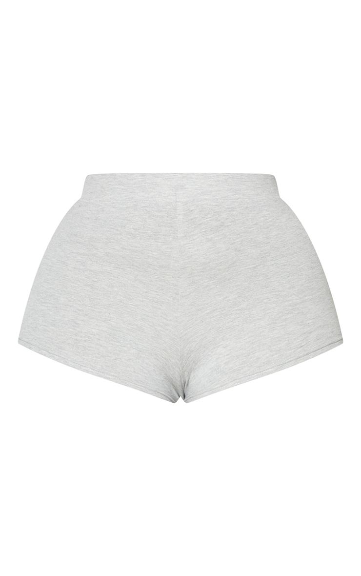 Basic Plus Grey Cotton Blend High Waisted Shorts 6
