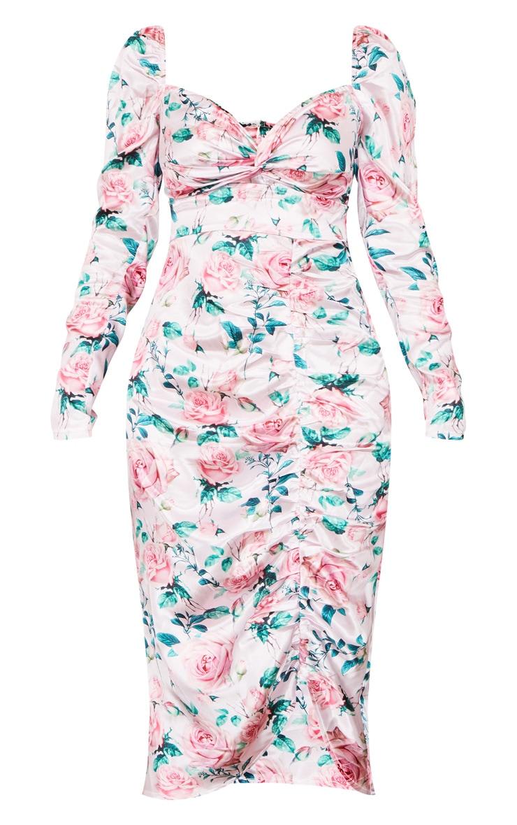 Pink Rose Print Twist Front Ruched Skirt Midi Dress 5