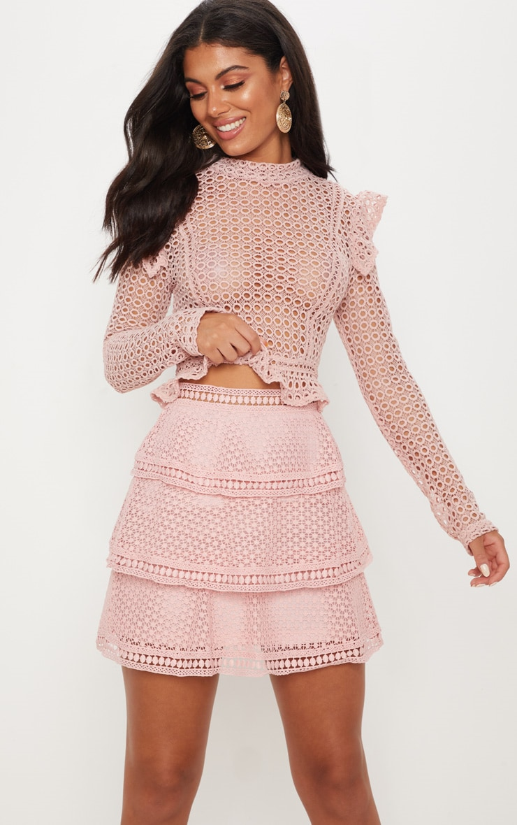 Pink Crochet Tiered Frill Mini Skirt 1