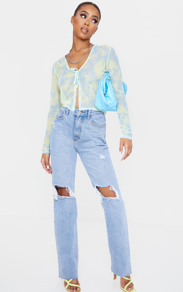 Blue Mesh Tie Dye Printed Tie Front Crop Top 3