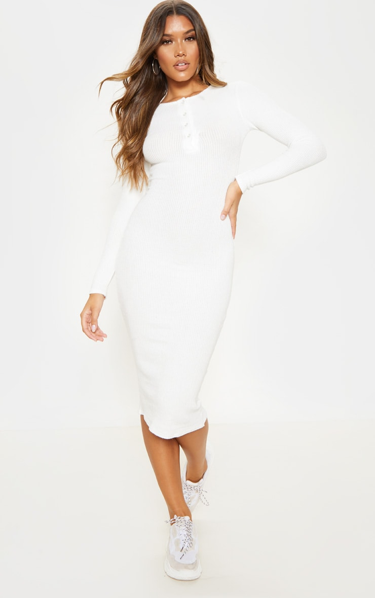 White Brushed Rib Button Front Midaxi Dress 1