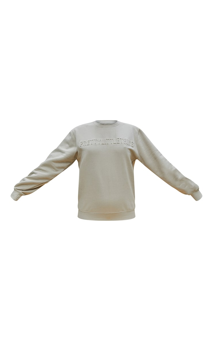PRETTYLITTLETHING Stone Embossed Sweatshirt 5