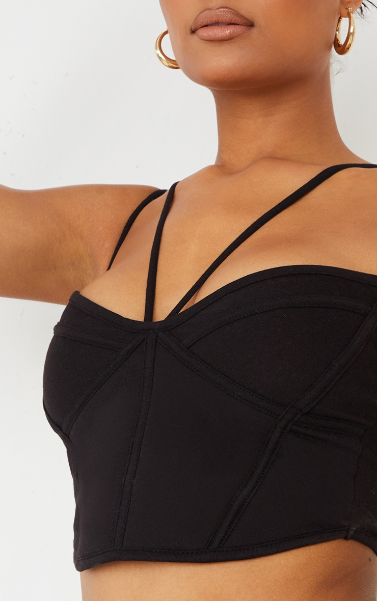 Black Cotton Padded Corset Detail Cami 4