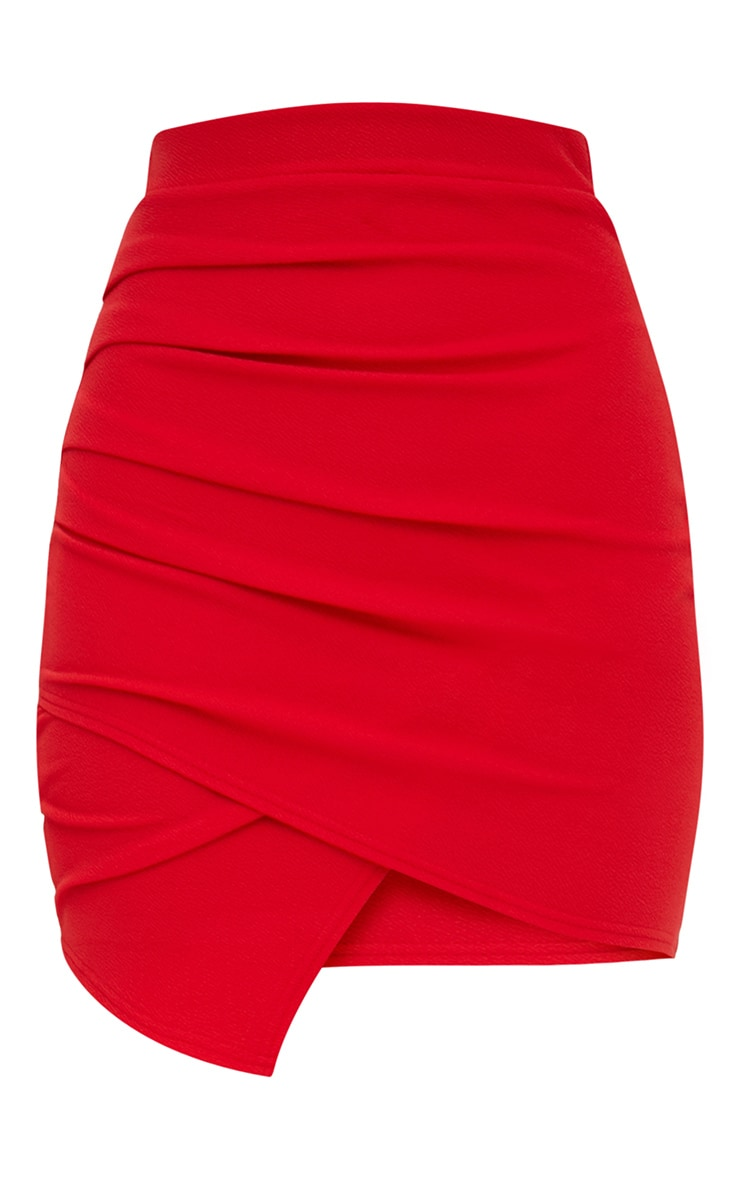 Red Ruched Wrap Mini Skirt 3