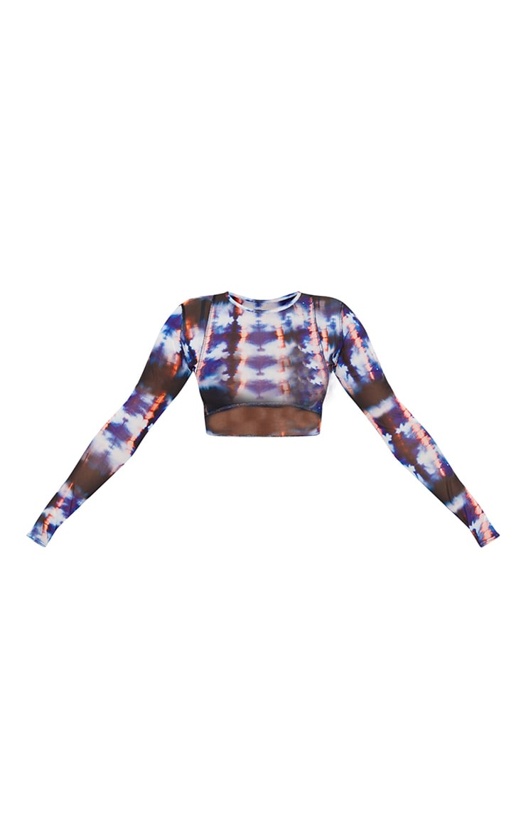 Blue Bleached Tie Dye Print Sheer Mesh Binding Long Sleeve Crop Top 5