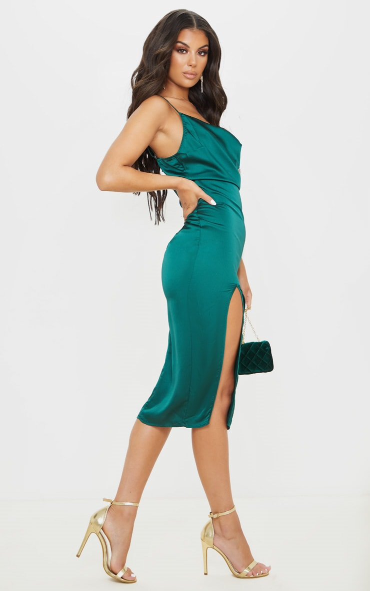 Emerald Green Strappy Satin Cowl Midi Dress 4