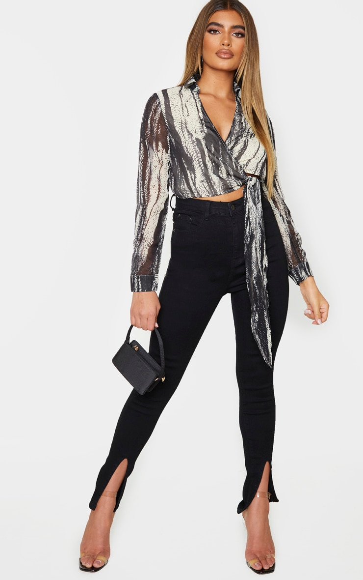 Black Chiffon Abstract Zebra Print Tie Front Blouse 3