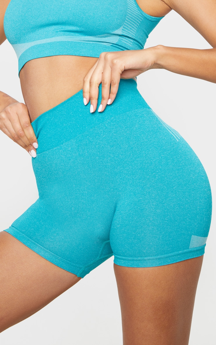 Turquoise Seamless Contour Booty Shorts 6