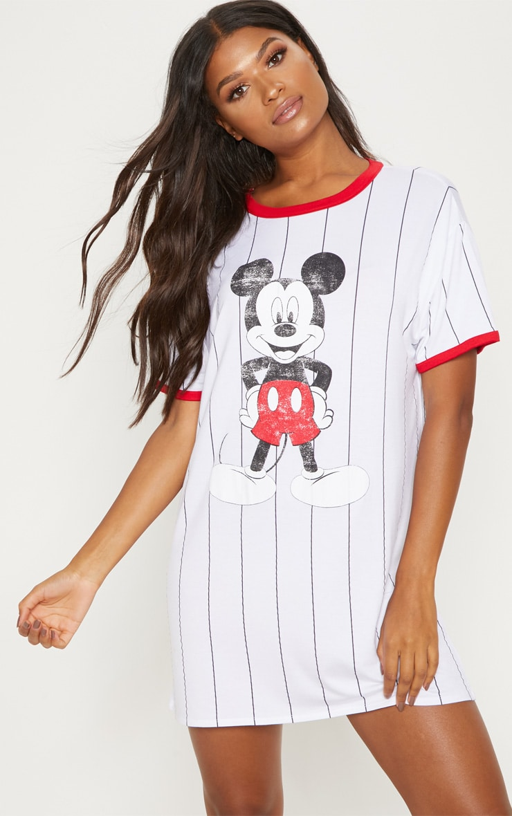 White Stripe Mickey Mouse Print Nightie