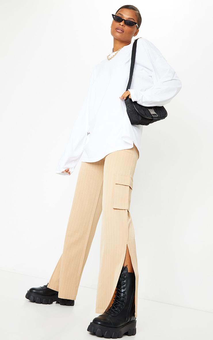Stone Pinstripe Wide Leg Pocket Detail Pants 1