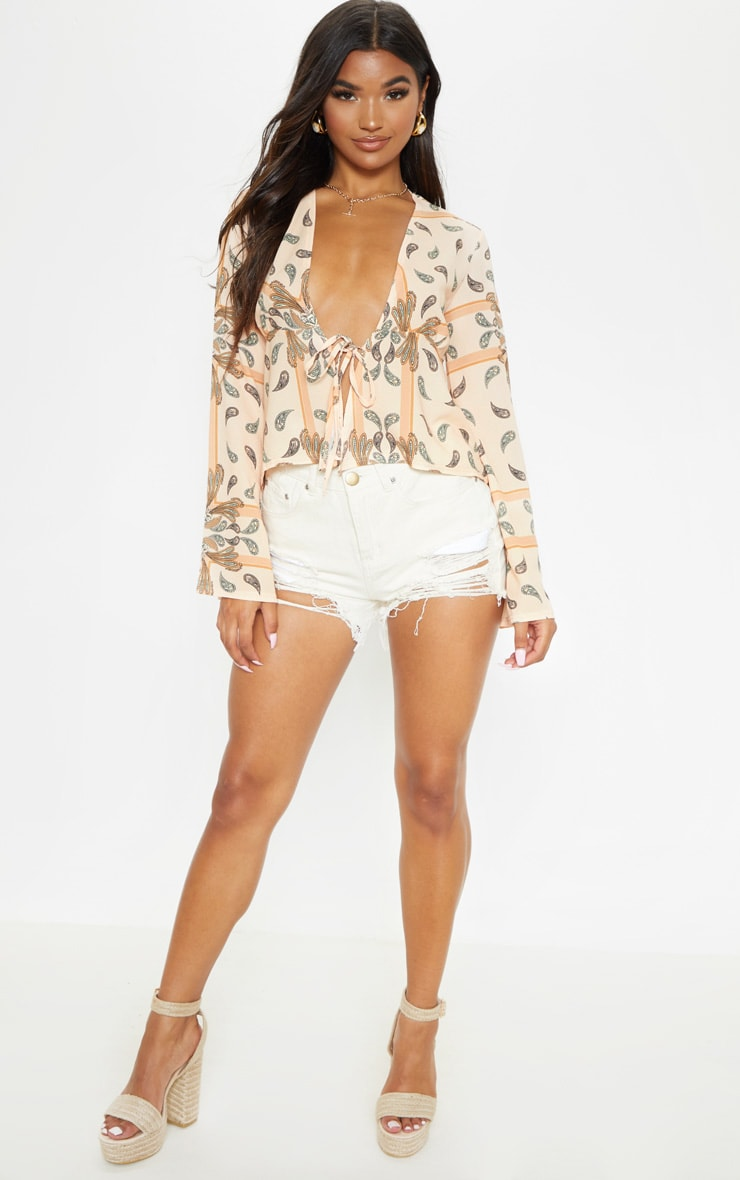 Beige Paisley Printed Chiffon Plunge Tie Front Blouse 4