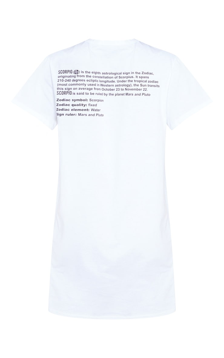 White Scorpio Definition Slogan T Shirt Dress 4