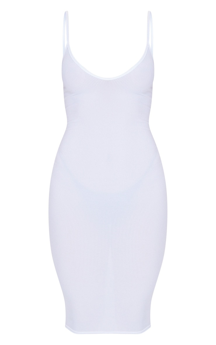 White Ribbed Plunge Bodycon Dress 5