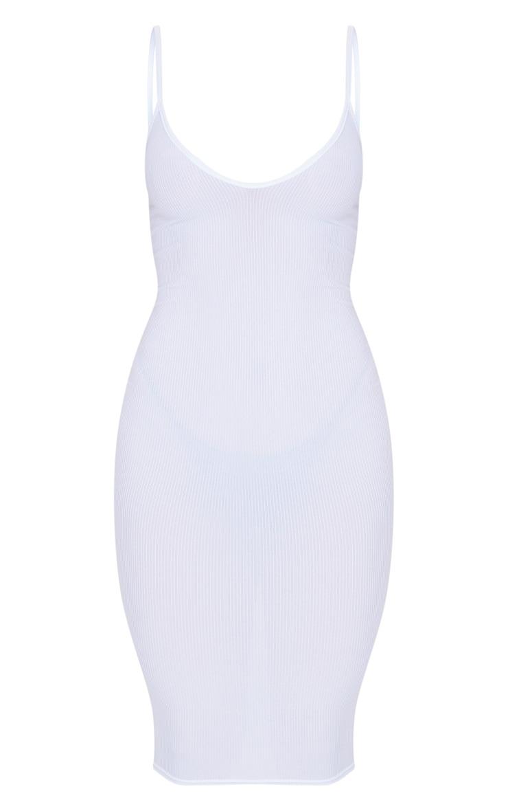 White Ribbed Plunge Midi Dress 5
