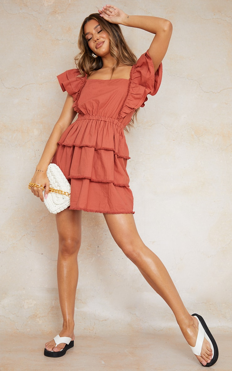 Burnt Clay Frill Detail Tiered Tie Back Shift Dress 1