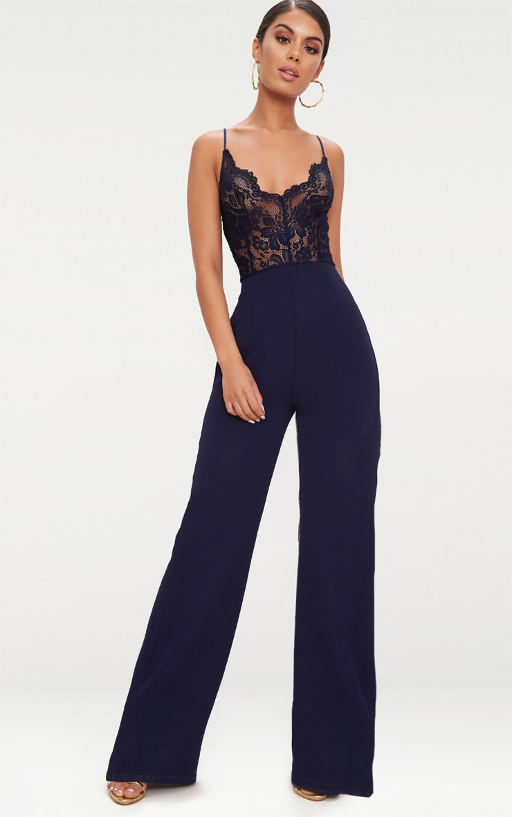 Navy Lace Wide Leg Jumpsuit