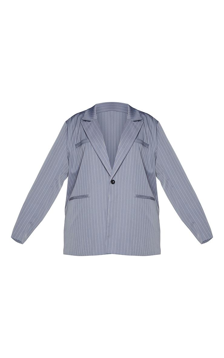 Plus Charcoal Grey Pinstripe Oversized Dad Blazer 5