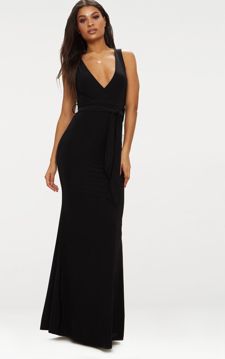 Black Plunge Tie Detail Maxi Dress 1