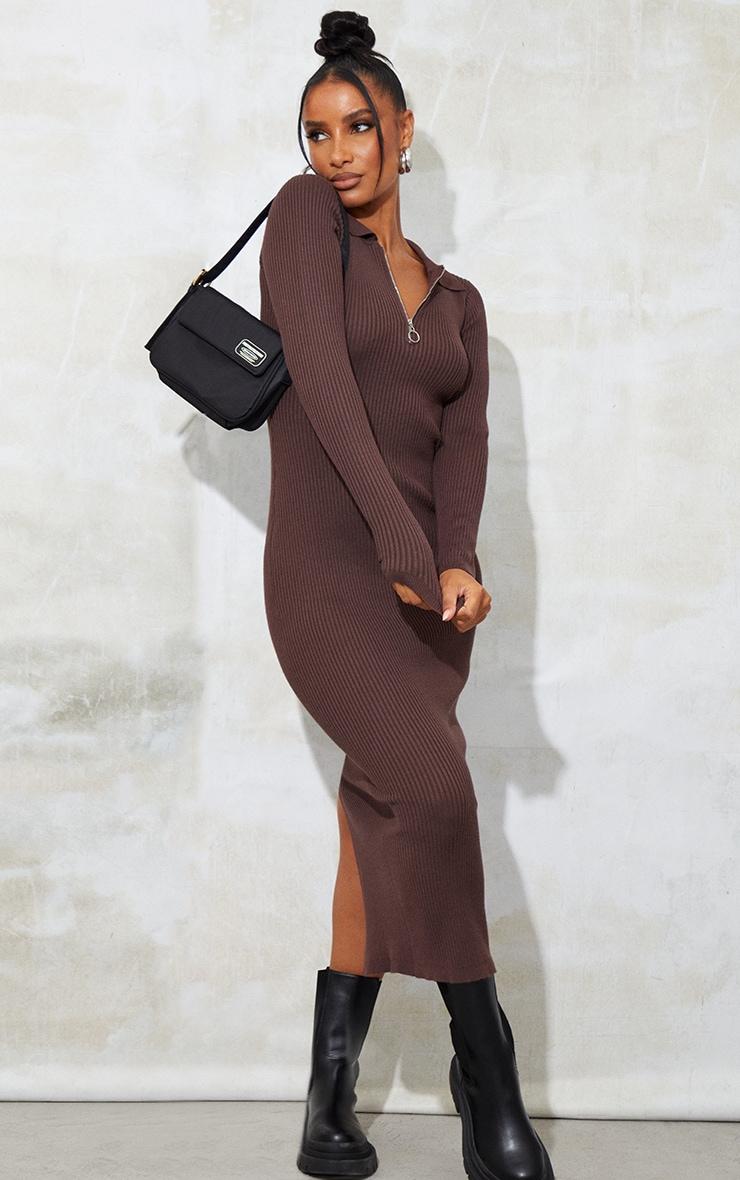 Chocolate Half Zip Collar Detail Knit Maxi Dress 3