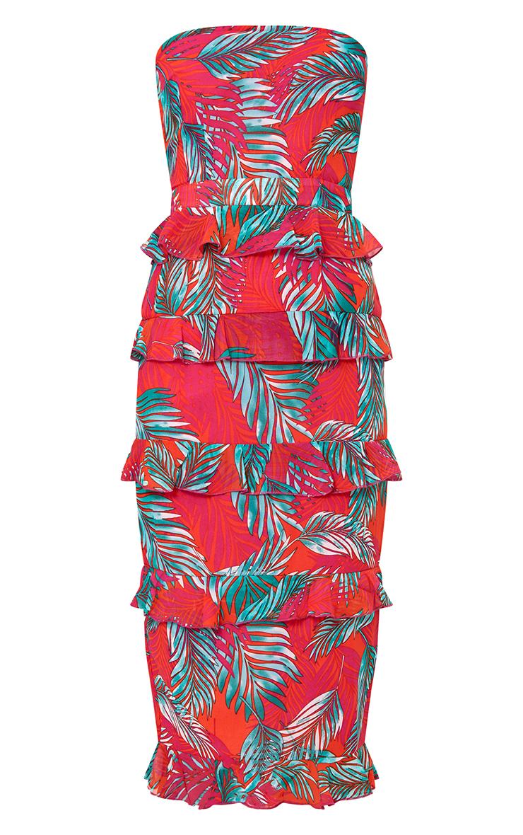 Hot Pink Tropical Print Ruffle Detail Midi Dress 3