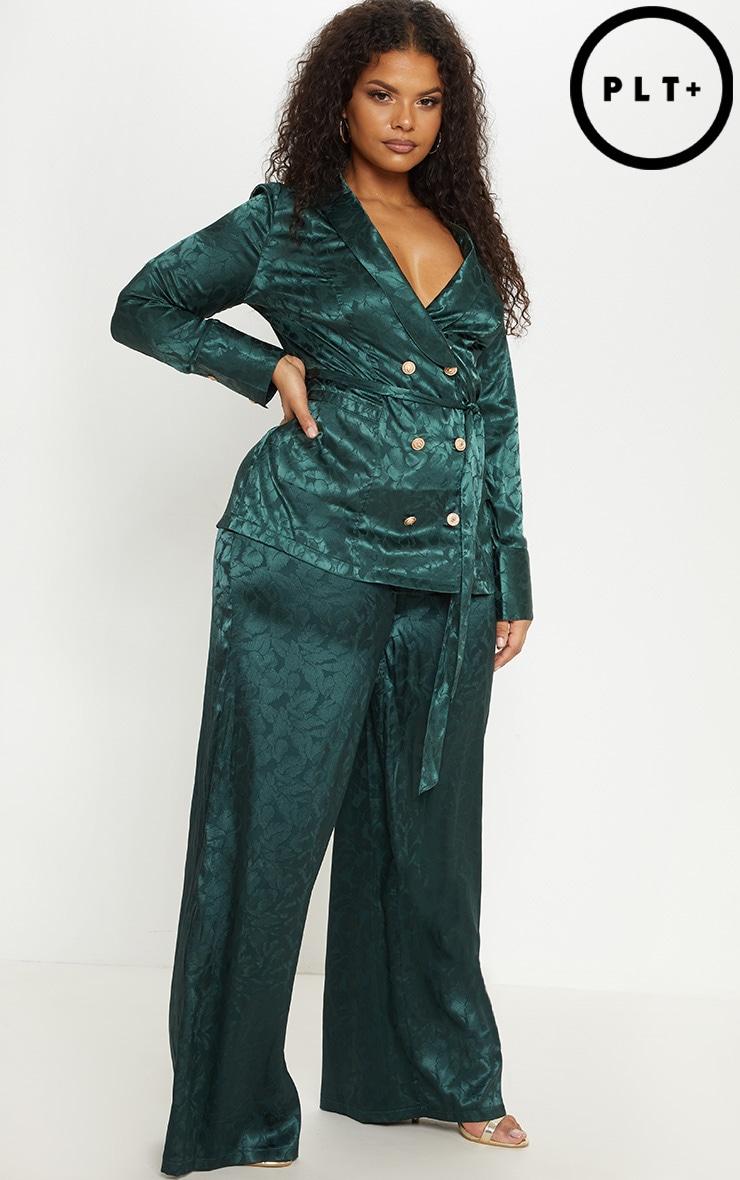 Plus Emerald Green Satin Jacquard Wide Leg Trouser 1