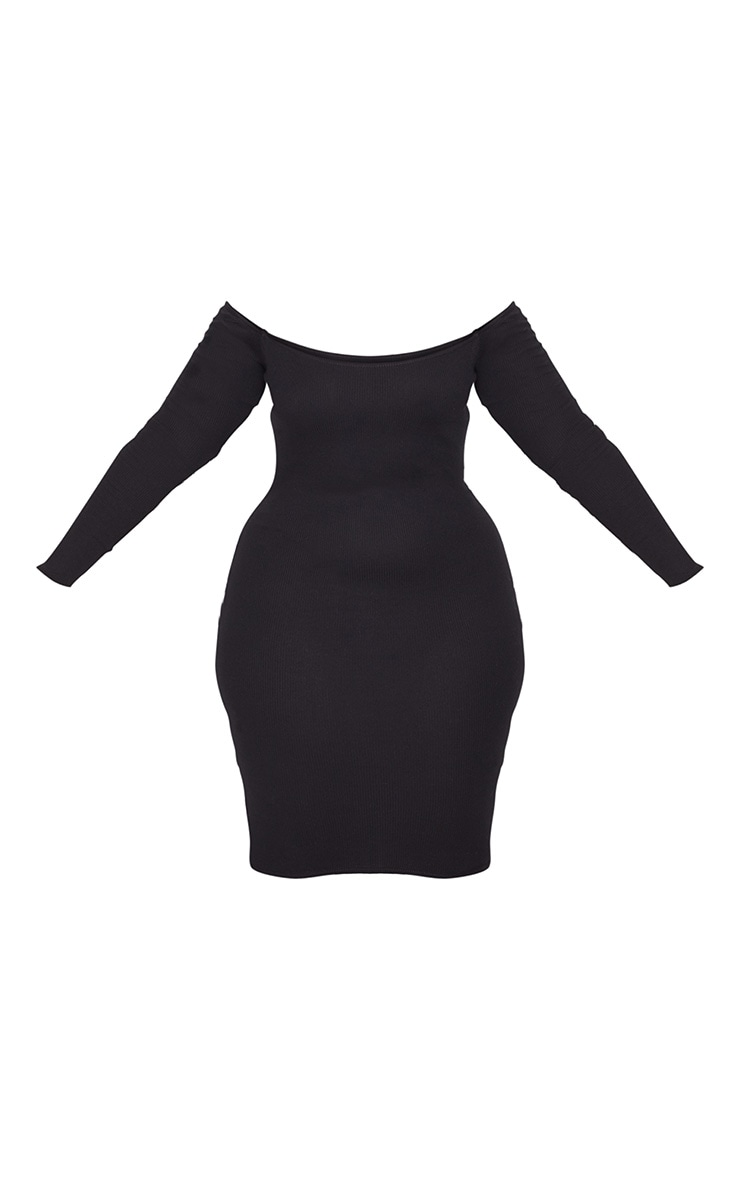 Plus Black Second Skin Bardot Ribbed Long Sleeve Midi Dress 3