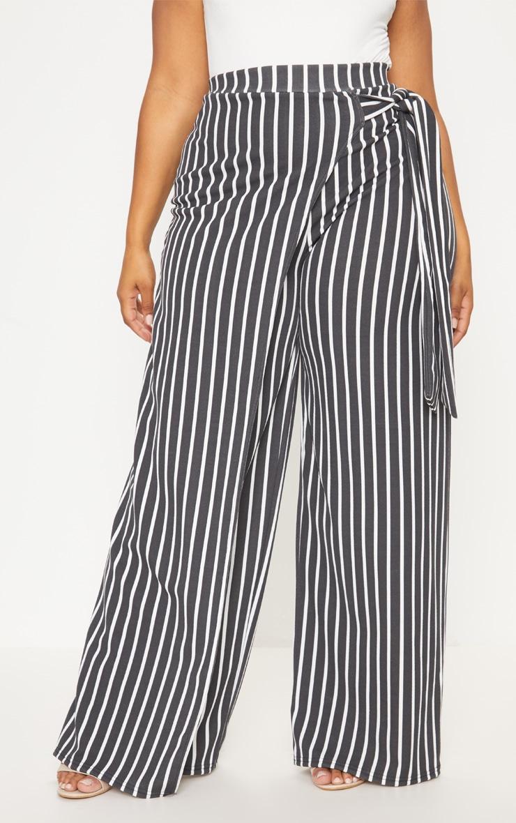 Plus Black Striped Wrap Detail Extreme Wide Leg Pants 2