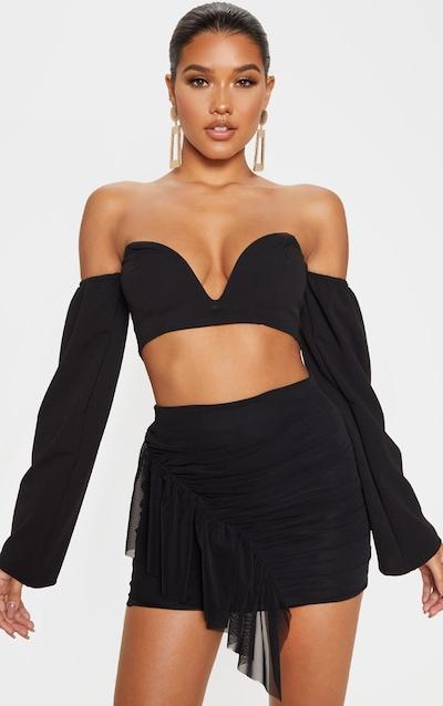 Black Mesh Frill Detail Mini Skirt