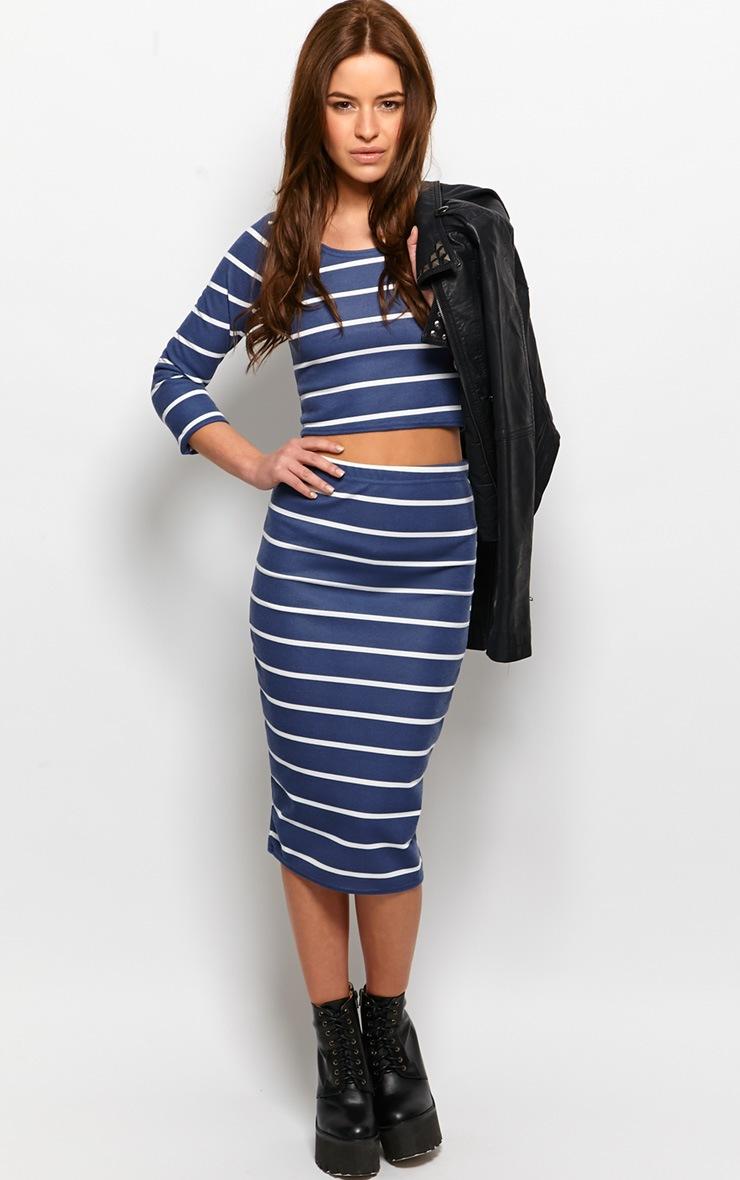 Kennedy Blue Premium Striped Midi Skirt 3