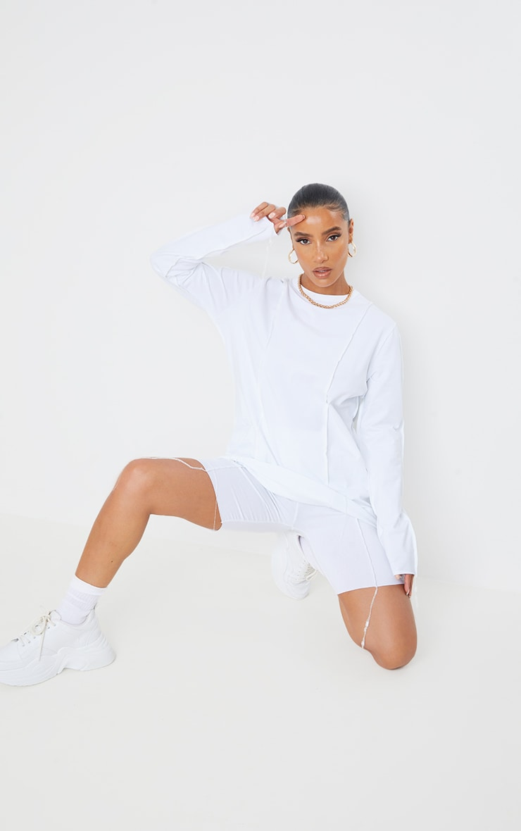 White Cotton Overlock Stitch Detail Long Sleeve Top 4
