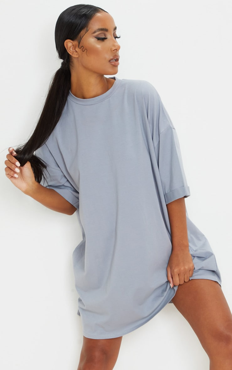 Charcoal Blue Oversized Boyfriend T Shirt Dress 1