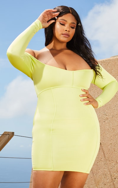 Plus Lime Second Skin Bardot Binding Detail Bodycon Dress 301b91737