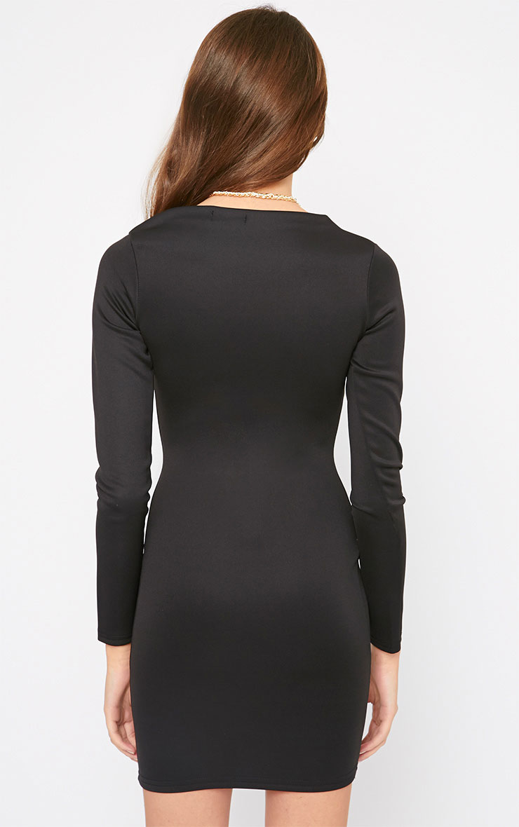 India Black Slash Neck Bodycon Dress 5
